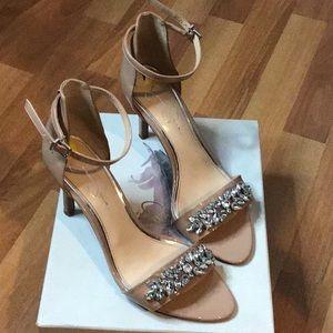 Jessica Simpson Nude Jeweled Heeled Sandal 9